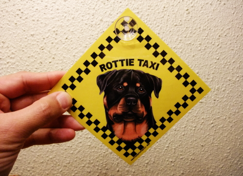ロッティー・タクシーのラミネートサイン(吸着盤つき)