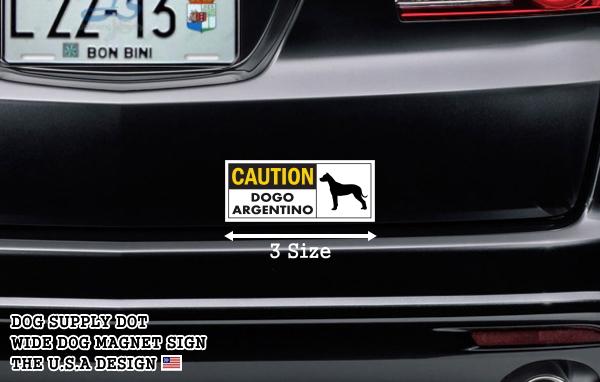 CAUTION DOGO ARGENTINO ワイドマグネットサイン:ドゴアルヘンティーノ