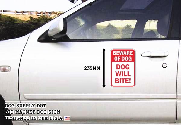 BEWARE OF DOG DOG WILL BITE! マグネットサイン