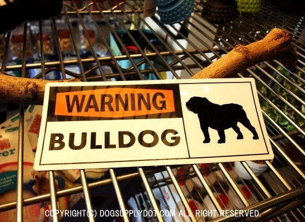 WARNING 英語 マグネット ステッカー:警告、注意、ブルドッグがいます