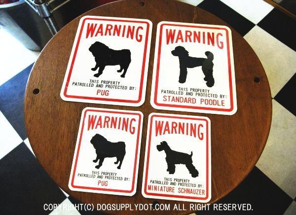 WARNING マグネットサイン:PUG2サイズ、STANDARD-POODLE、MINIATURE-SCHNAUZER