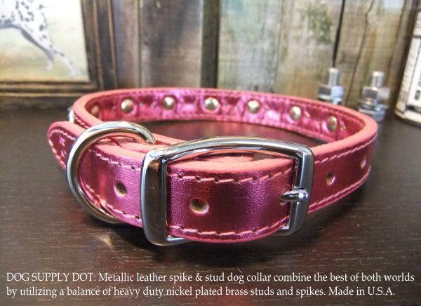 小型犬用のスパイク&スタッズカラー首輪:メタリックピンク(幅20mm)