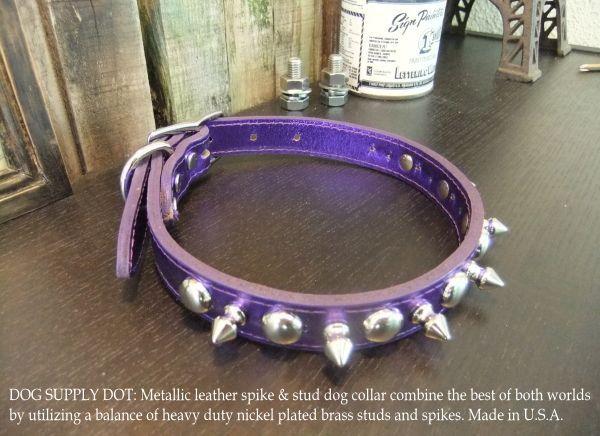 小型犬用のスパイク&スタッズカラー首輪:メタリックパープル(幅20mm)