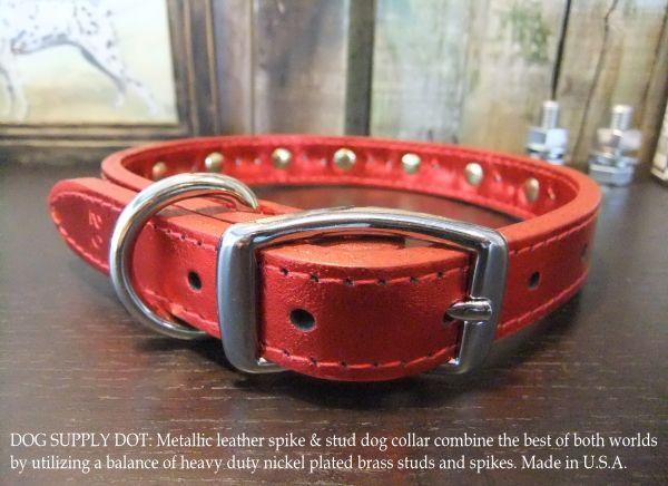 小型犬用のスパイク&スタッズカラー首輪:メタリックレッド(幅20mm)