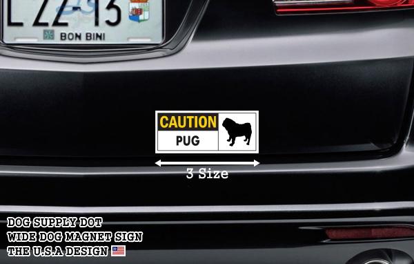 CAUTION PUG ワイドマグネットサイン:パグ