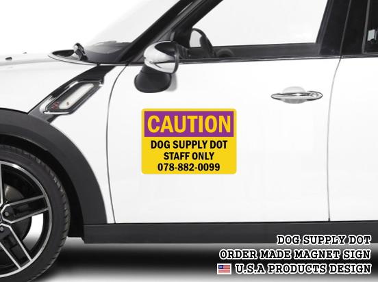 英語や数字・記号でアメリカンなオリジナルマグネット看板が作れるオーダーメイドのマグネットサイン:CAUTION(PURPLE)