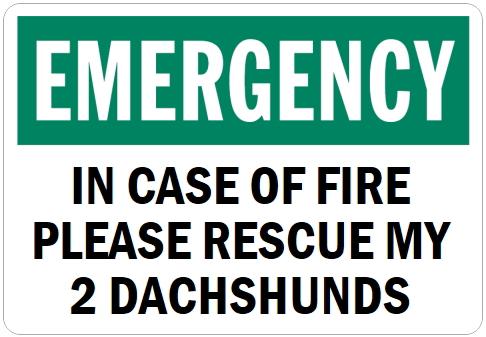 オーダーメイドのマグネットサイン:EMERGENCY IN CASE OF FIRE PLEASE RESCUE MY 2 DACHSHUNDS