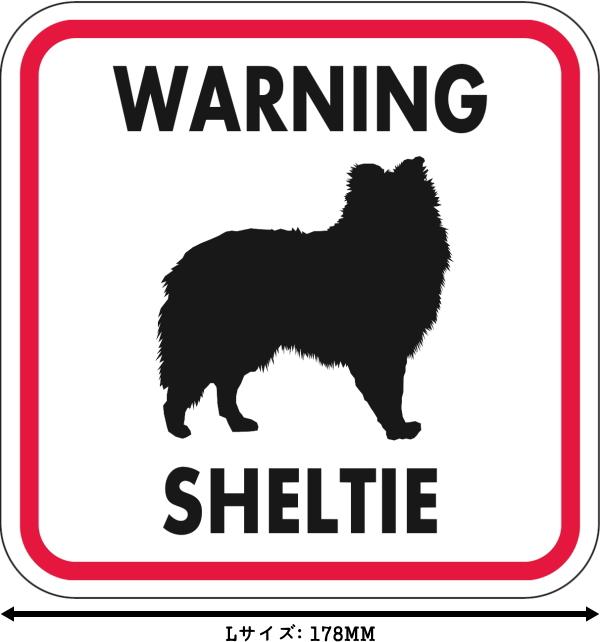 WARNING SHELTIE マグネットサイン:シェルティー(レッドフレーム)Lサイズ