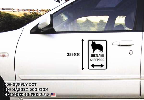 SHETLAND SHEEPDOG イラスト&矢印 マグネットサイン