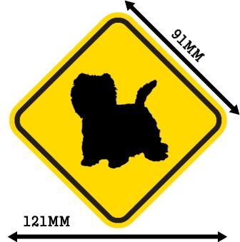 黄色い注意標識のマグネットサイン:ウエストハイランドホワイトテリア