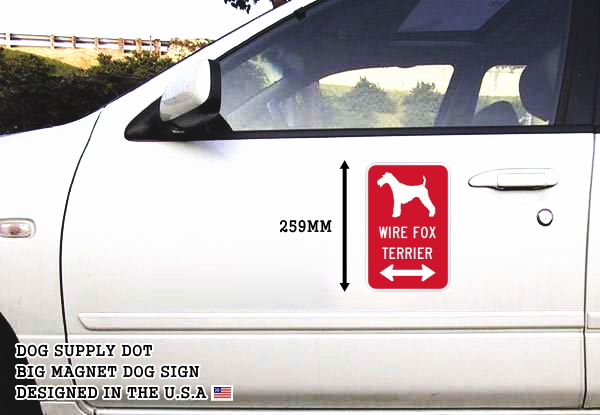 WIRE FOX TERRIER イラスト&矢印 マグネットサイン
