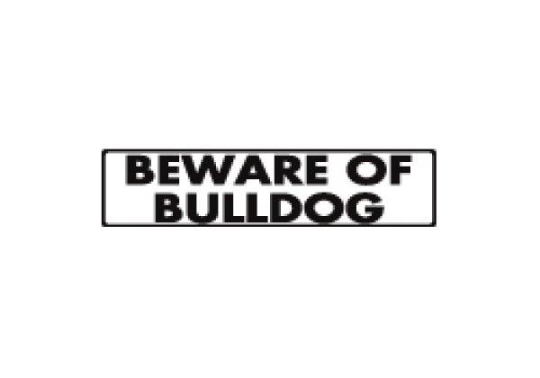 画像1: ブルドッグ注意 英語サインプレート アルミ素材 アメリカ輸入看板:BEWARE OF BULLDOG[MADE IN U.S.A] (1)