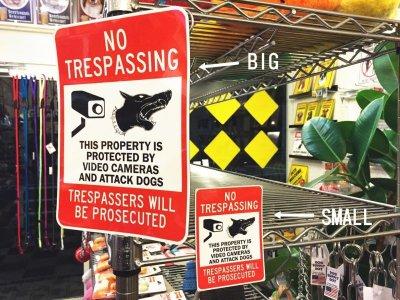 画像1: NO TRESPASSING, THIS PROPERTY IS PROTECTD BY VIDEO CAMERAS AND ATTACK DOGS, TRESPASSERS WILL BE PROSECUTEDマグサイン