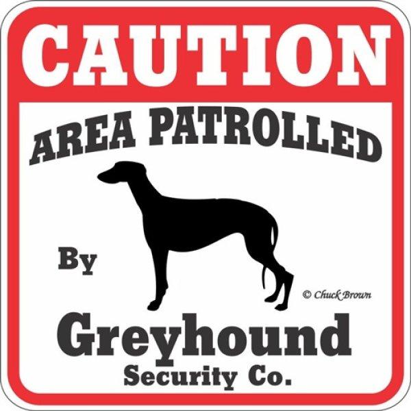 画像1: グレイハウンド注意 英語看板 アメリカ輸入サインボード:CAUTION AREA PATROLLED By Greyhound Security Co.[MADE IN U.S.A] (1)