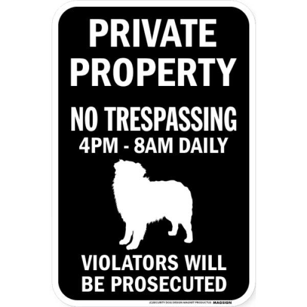 画像1: PRIVATE PROPERTY ブラックマグネットサイン:オーストラリアンシェパード (1)