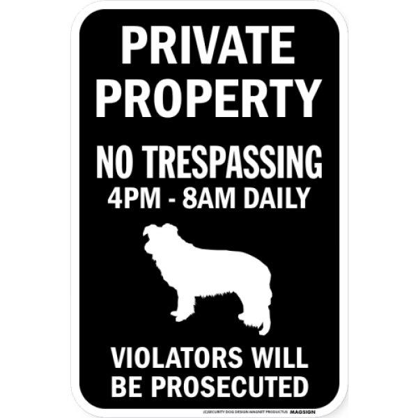 画像1: PRIVATE PROPERTY ブラックマグネットサイン:ボーダーコリー (1)