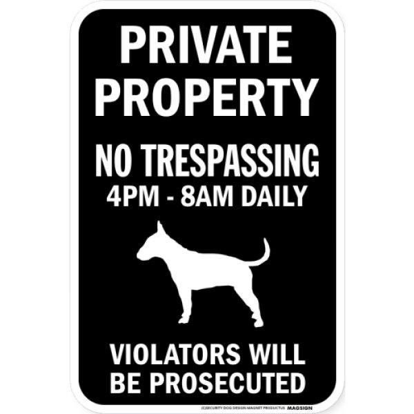 画像1: PRIVATE PROPERTY ブラックマグネットサイン:ブルテリア (1)
