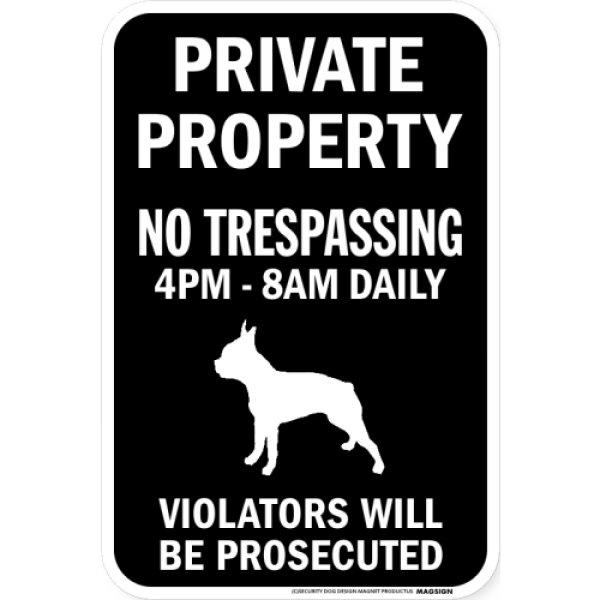 画像1: PRIVATE PROPERTY ブラックマグネットサイン:ボストンテリア (1)