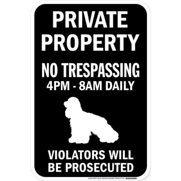 画像1: PRIVATE PROPERTY ブラックマグネットサイン:アメリカンコッカースパニエル (1)