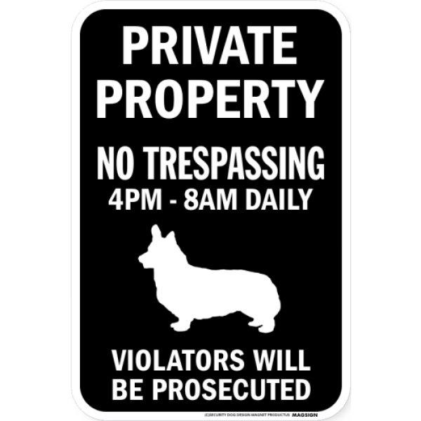 画像1: PRIVATE PROPERTY ブラックマグネットサイン:コーギー (1)