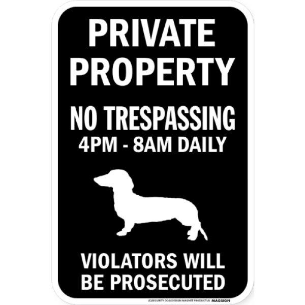 画像1: PRIVATE PROPERTY ブラックマグネットサイン:スムースダックスフンド (1)