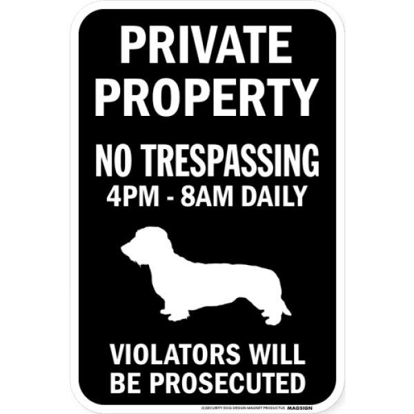画像1: PRIVATE PROPERTY ブラックマグネットサイン:ワイヤーヘアーダックスフンド (1)