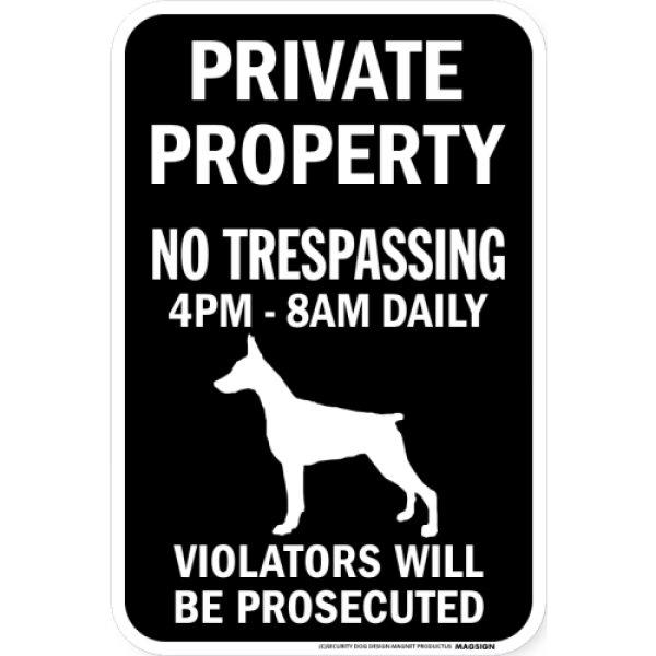 画像1: PRIVATE PROPERTY ブラックマグネットサイン:ドーベルマン(立ち耳) (1)