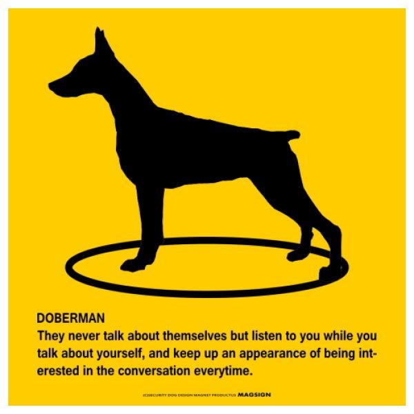 画像1: DOBERMAN'S POEMマグネットサイン:ドーベルマンC(イエロー) (1)