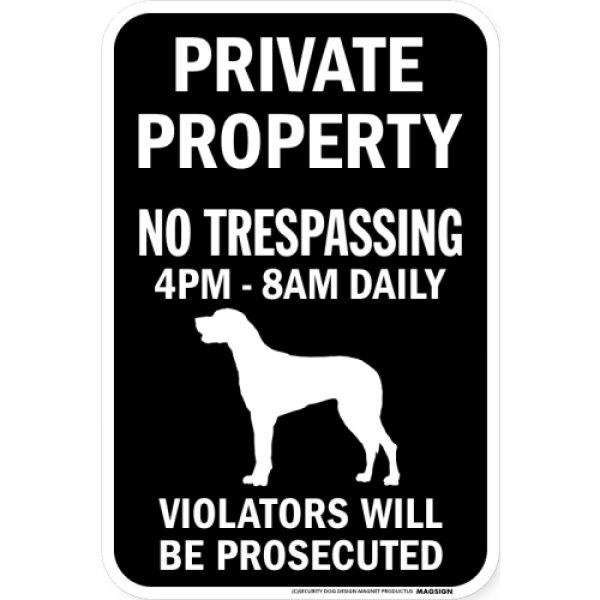 画像1: PRIVATE PROPERTY ブラックマグネットサイン:グレートデーン(垂れ耳) (1)