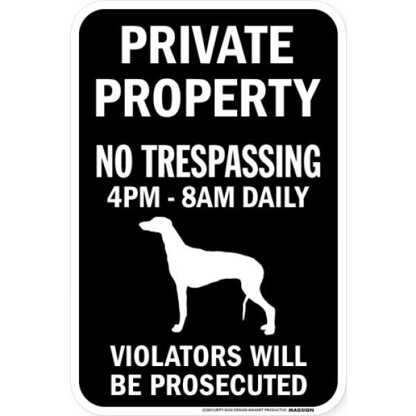 画像1: PRIVATE PROPERTY ブラックマグネットサイン:グレイハウンド (1)