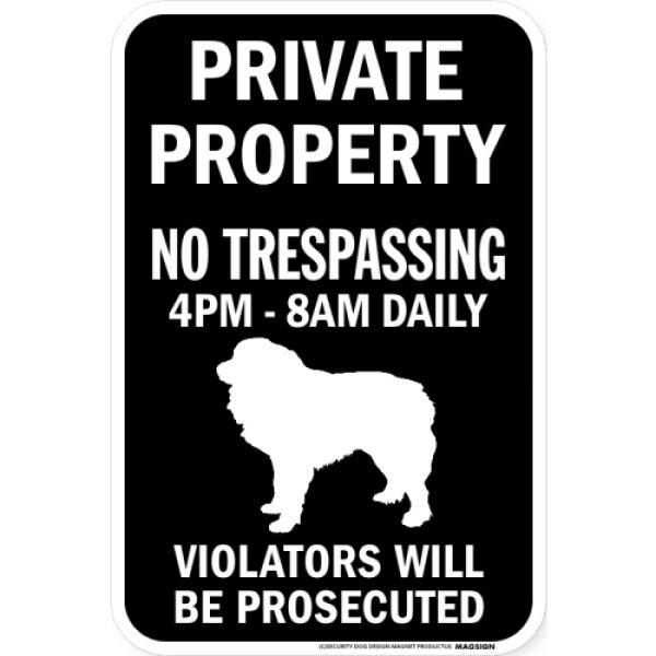 画像1: PRIVATE PROPERTY ブラックマグネットサイン:グレートピレニーズ (1)