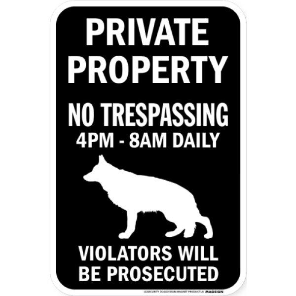 画像1: PRIVATE PROPERTY ブラックマグネットサイン:ジャーマンシェパード (1)