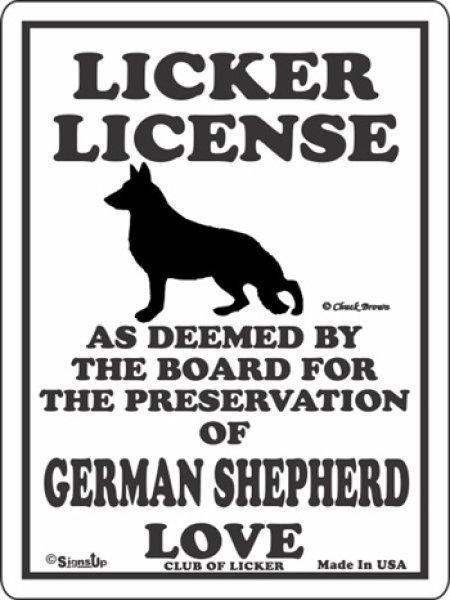 画像1: ジャーマンシェパード 愛の証 英語サインボード 人舐め許可掲示板:LICKER LICENCE OF GERMAN SHEPHERD LOVE[MADE IN U.S.A] (1)