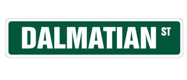 画像1: ダルメシアン 英語看板 アメリカ道路標識 ストリートサインボード:DALMATIAN ST[MADE IN U.S.A] (1)