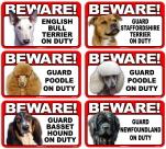 BEWARE! 犬警戒,犬注意マグネットステッカー