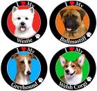 I LOVE DOG 犬種別ドッグマグネット、丸いサークルタイプの車&屋外用マグネットステッカー