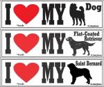 I LOVE MY DOG ステッカー:横長に大きい長方形サイズのカーステッカー