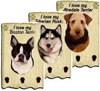アンティークっぽい雰囲気が漂う木製のキー&リードフック/犬種別ペイントウッドの小物掛け
