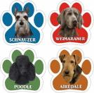 犬の足跡デザインのPAWマグネットステッカー(犬種別)