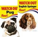 犬に気を付けて!犬種写真画像入り イギリス製看板
