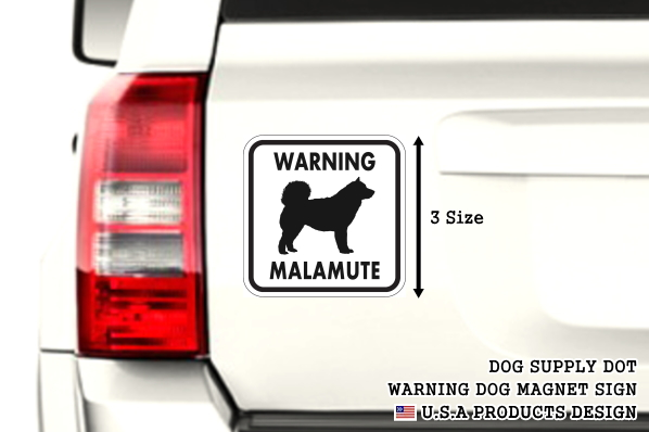 WARNING MALAMUTE マグネットサイン:マラミュート(ホワイト)