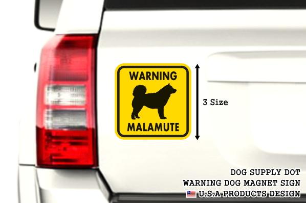 WARNING MALAMUTE マグネットサイン:マラミュート(イエロー)