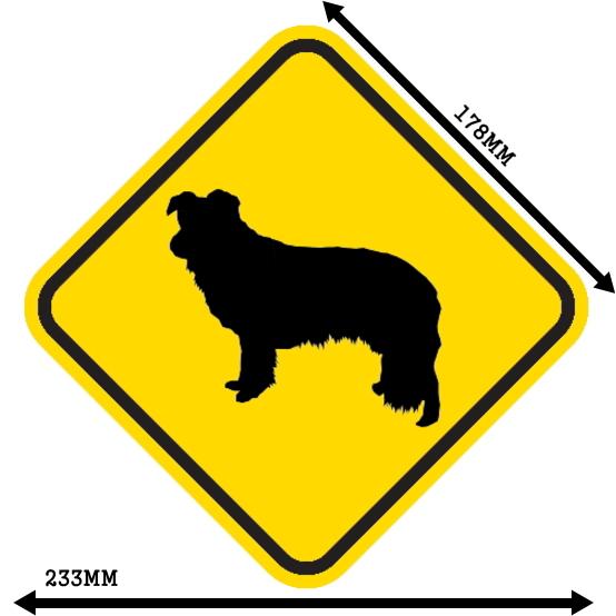 黄色い注意標識のマグネットサイン:ボーダーコリー