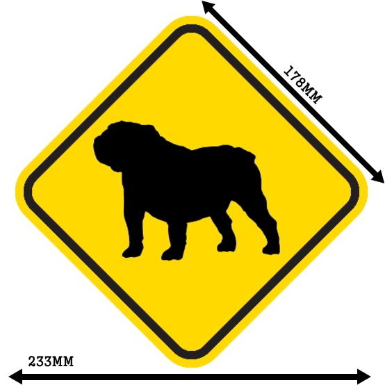黄色い注意標識のマグネットサイン:ブルドッグ