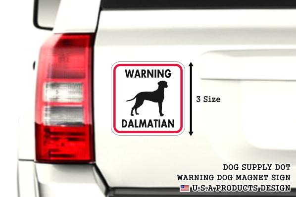 WARNING DALMATIAN マグネットサイン:ダルメシアン(レッドフレーム)