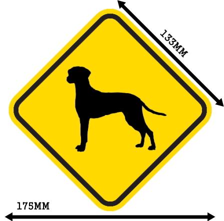 黄色い注意標識のマグネットサイン:ダルメシアン