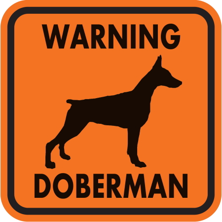 WARNING DOBERMAN マグネットサイン:ドーベルマン(オレンジ)Mサイズ