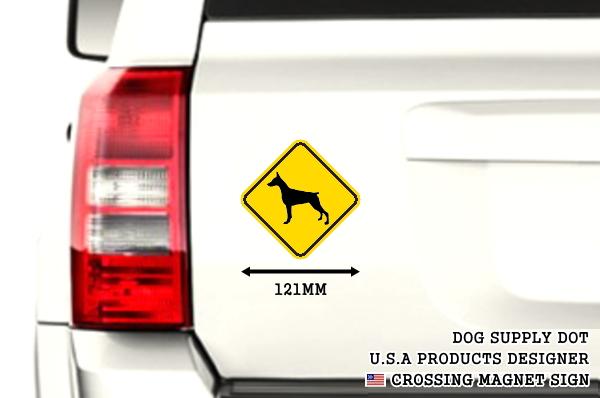 黄色い注意標識のマグネットサイン:ドーベルマン