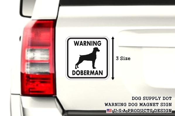 WARNING DOBERMAN マグネットサイン:ドーベルマン/垂れ耳(ホワイト)