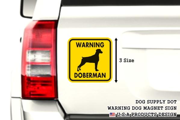 WARNING DOBERMAN マグネットサイン:ドーベルマン/垂れ耳(イエロー)